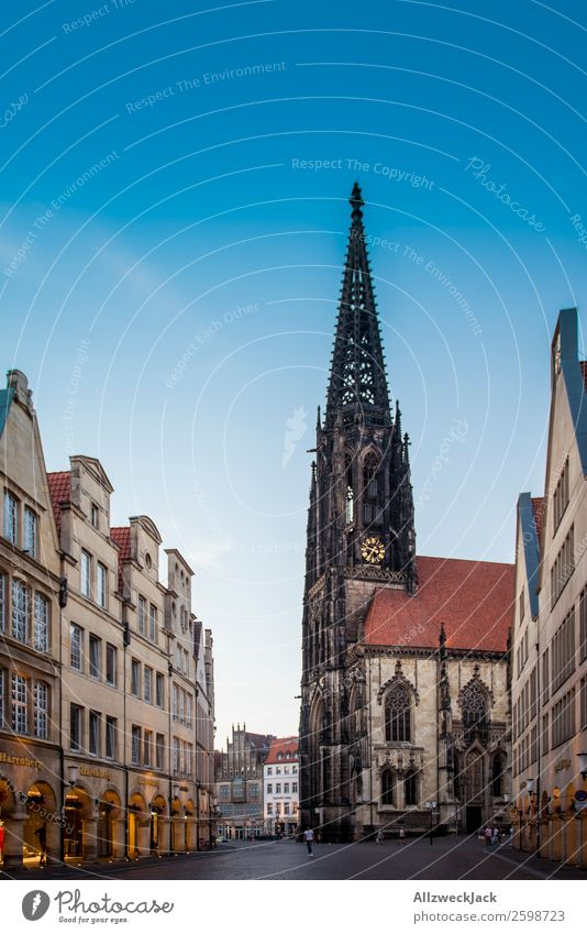in the middle of Münster Germany Dome Downtown Old town House (Residential Structure) Sightseeing Street Tower Beautiful weather Blue sky Cloudless sky Deserted
