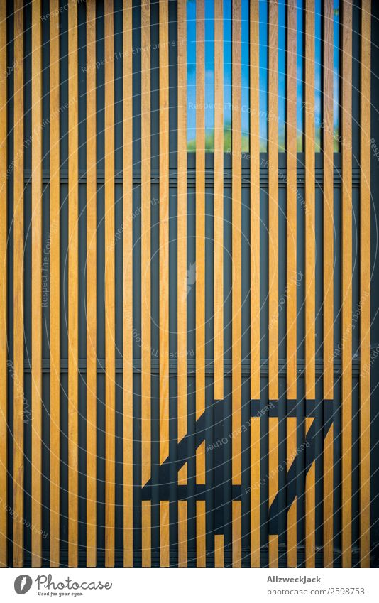 Wall with wooden structure and number Deserted Wall (building) Facade Architecture Detail Wood Wood strip Wooden board cladding 47 Digits and numbers Window