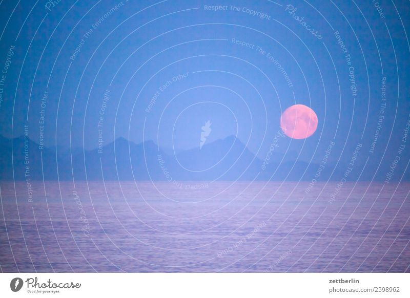 Moon again Evening Night Twilight Polar night Dark Rock Vacation & Travel Fjord Harbour Sky Heaven Horizon Island Landscape Maritime Ocean Coast Moonrise