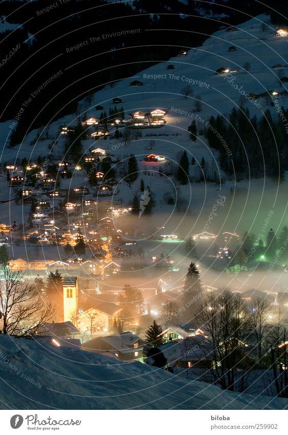 winter night steering Village House (Residential Structure) Church Building Architecture Cold Yellow Black White Fog Village church Switzerland Simmern valley