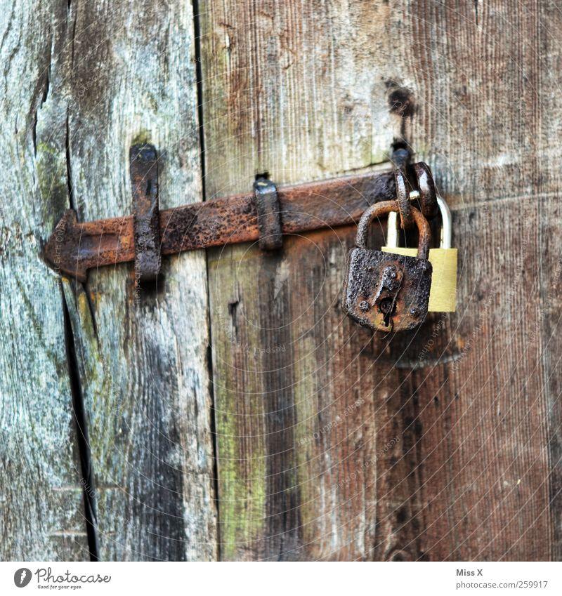 Old Wood Door Brown Closed Safety In pairs Decline Rust Lock Iron Wooden door