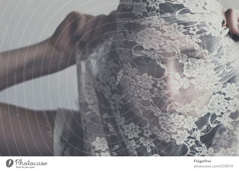 permeation Feminine 1 Human being 18 - 30 years Youth (Young adults) Adults Touch Lace Rag Fine Blind Face Woman Hand To hold on Eyes mask sb./sth.