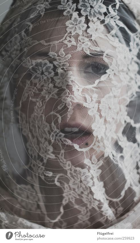 Human being Woman Youth (Young adults) Face Adults Feminine Mouth 18 - 30 years Young woman Lace Captured Piercing Textiles Rag Blind Concealed