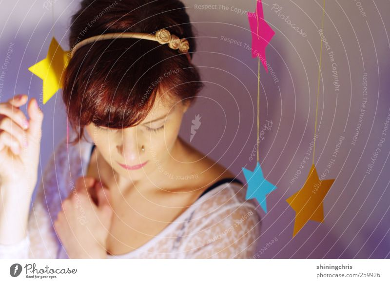 Human being Youth (Young adults) Blue Beautiful Adults Yellow Feminine Hair and hairstyles Pink Star (Symbol) Future 18 - 30 years Kitsch Delicate Young woman