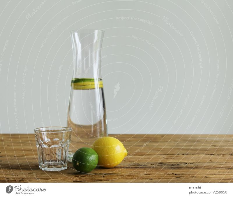 Water with shot Beverage Cold drink Drinking water Lemonade Bottle Glass Sour Brown Yellow Green Glassbottle Lime Lemon yellow Lemon juice Still Life