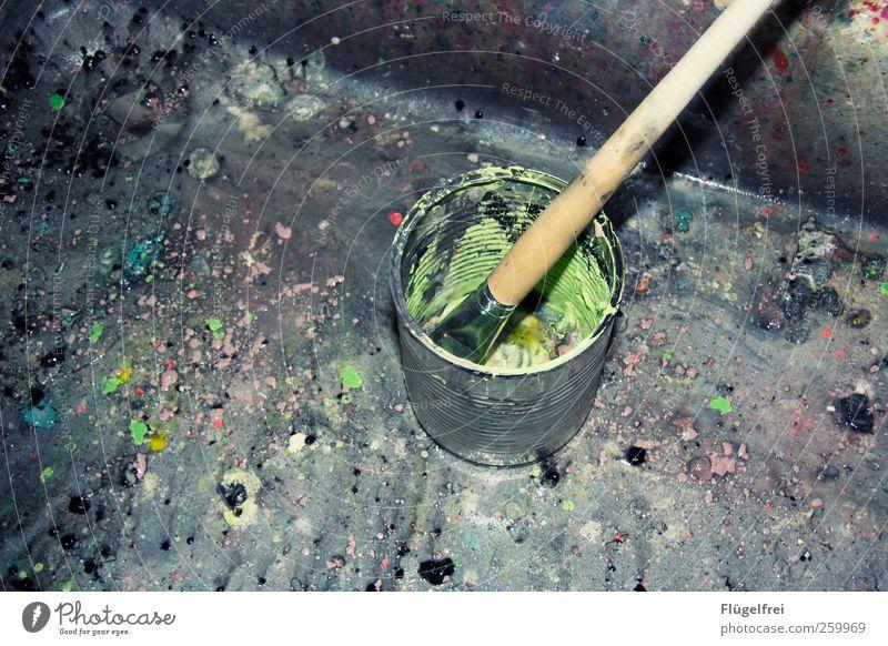 paint slurry Art Study Colour pot Tin Paintbrush Painting (action, artwork) Culture Design Multicoloured paint splashes Dirty Sink Bucket sluice Creativity