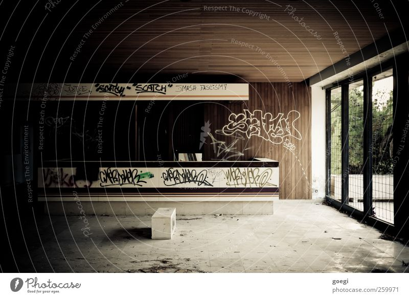 reception Ruin Manmade structures Building Hotel Garden Window Reception Entrance Graffiti Old Dirty Dark Broken Trashy Gloomy Loneliness Apocalyptic sentiment