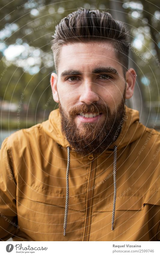 Portrait of a man in an fall landscape. Wellness Young man Youth (Young adults) Head 1 Human being 18 - 30 years Adults Nature Earth Autumn Tree Field Sweater