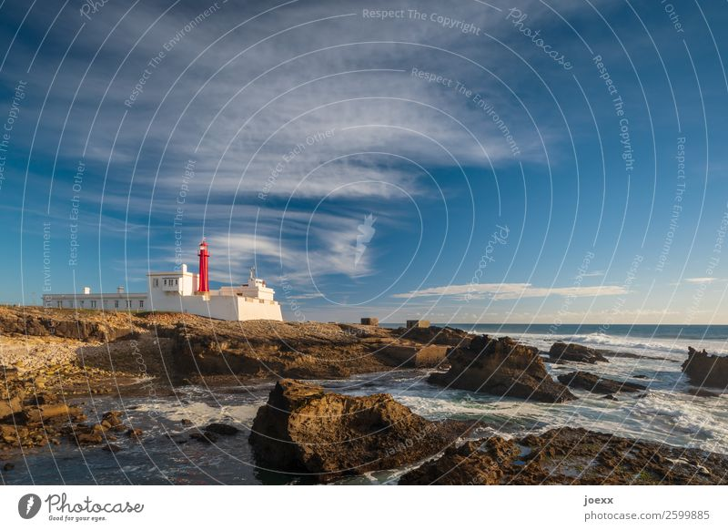 Lighthouse at Portuguese rocky coast at the sea in front of blue sky Wide angle Exterior shot Colour photo Horizon Wanderlust Calm White Brown Blue Maritime Old