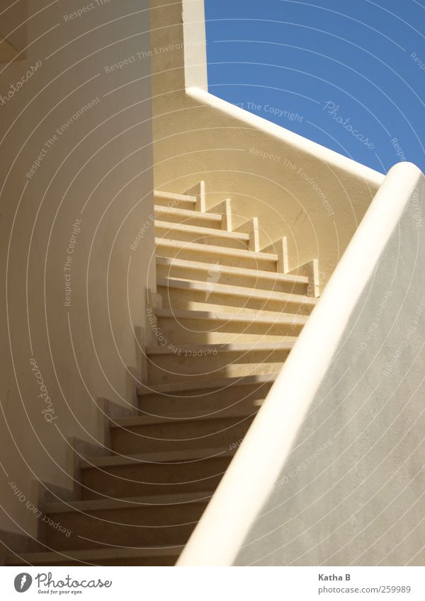 Sky Blue Vacation & Travel White Warmth Architecture Facade Stairs Warm-heartedness Banister Exotic Go up Greece Sky blue Detached house Crete
