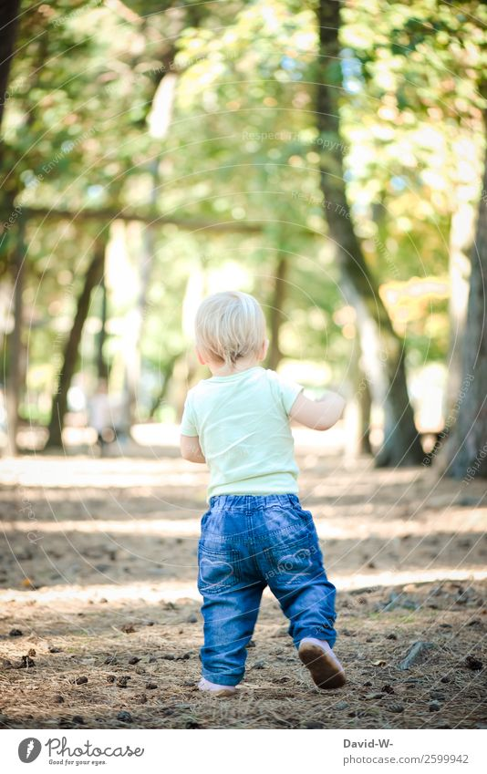 Child Human being Nature Summer Calm Forest Girl Life Autumn Environment Boy (child) Small Feet Going Contentment Elegant