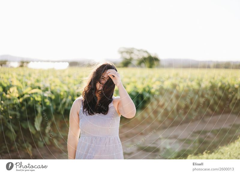 Happy woman in field Human being Vacation & Travel Youth (Young adults) Young woman Joy Emotions Hair and hairstyles Moody Field Smiling Happiness Success
