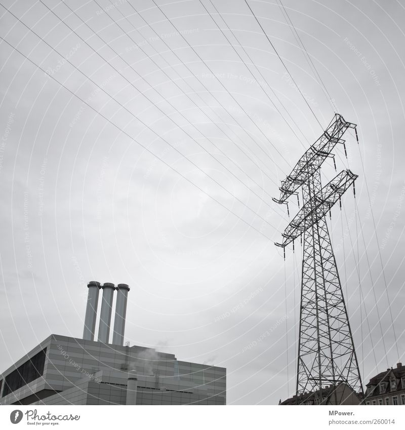 power plant Flat (apartment) House (Residential Structure) Energy industry Coal power station 3 Human being Sky Window Chimney Hideous Cold Gray
