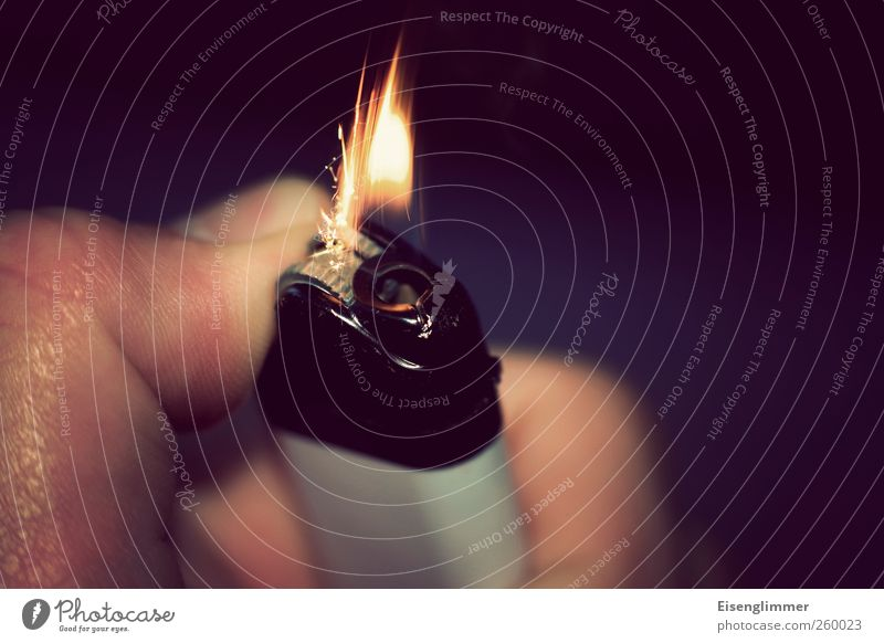 ignition Lighter Energy Ignite Rousing Thumb Flame Fire flint Colour photo Interior shot Copy Space right Day