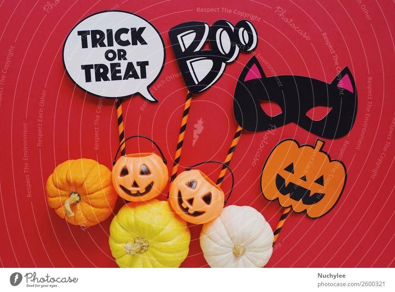Flat lay of halloween prop with pumpkins Joy Autumn Happy Feasts & Celebrations Art Design Decoration Retro Photography Cute Seasons Card Hip & trendy