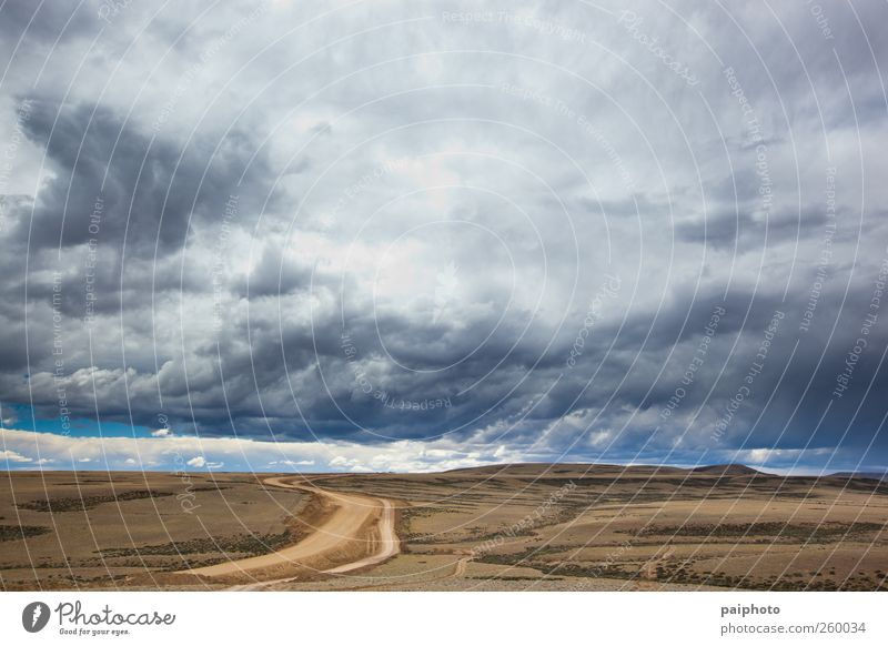 Road and stormy clouds Sky Blue Loneliness Clouds Black Street Dark Gray Rain Earth Brown Adventure Desert Storm Chile Landscape