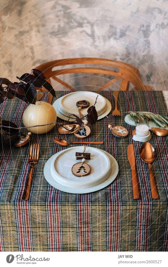 holiday copper table setting decorated with wooden sahapes Dinner Plate Happy Decoration Restaurant Christmas & Advent New Year's Eve Warmth Cloth Stone