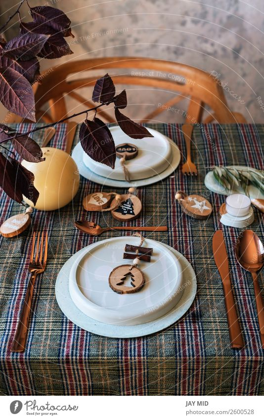 holiday copper table setting decorated with wooden sahapes Dinner Plate Happy Decoration Party Event Restaurant Feasts & Celebrations Thanksgiving