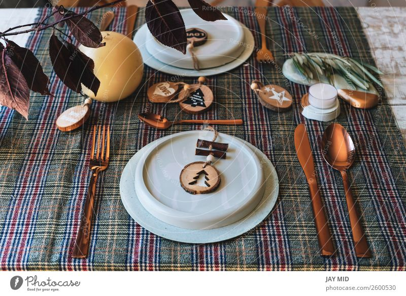 Christmas table setting dishes decorated with wooden ornaments Dinner Plate Happy Decoration Table Restaurant Thanksgiving Christmas & Advent New Year's Eve