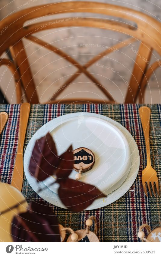 Christmas copper table setting decorated with wooden ornaments Dinner Plate Happy Decoration Table Restaurant Thanksgiving Christmas & Advent New Year's Eve