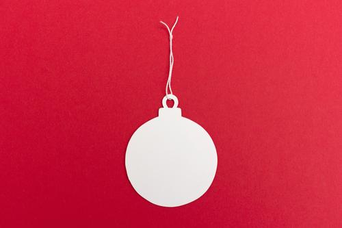 Christmas ball pendant Feasts & Celebrations Christmas & Advent Make Happiness Retro Round Red White Virtuous Happy Contentment Anticipation Desire Pendant Card