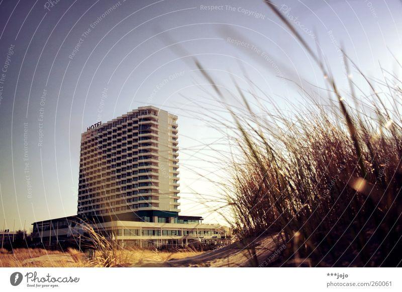 heartbreak hotel. Warnemünde Vacation & Travel Architecture Concrete Tourist resort Sky Hotel Modern Prefab construction Sand Sandy beach Beach Strand hotel