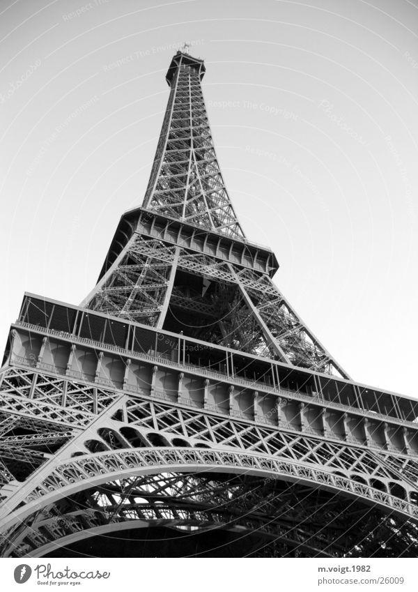 Eiffel Tower Black & white photo Exterior shot Deserted Worm's-eye view Sightseeing City trip Paris Manmade structures Tourist Attraction Landmark Monument