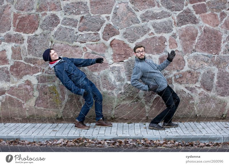 together forever Lifestyle Style Joy Human being Young man Youth (Young adults) 2 18 - 30 years Adults Environment Winter Town Wall (barrier) Wall (building)