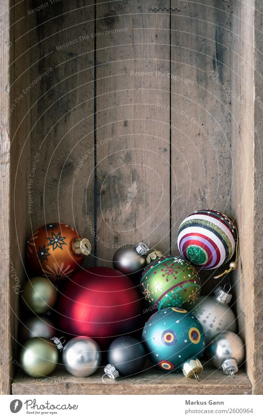 Christmas balls in a wooden box Style Decoration Christmas & Advent Brown Multicoloured Background picture Grunge Sphere Glass ball Glitter Ball