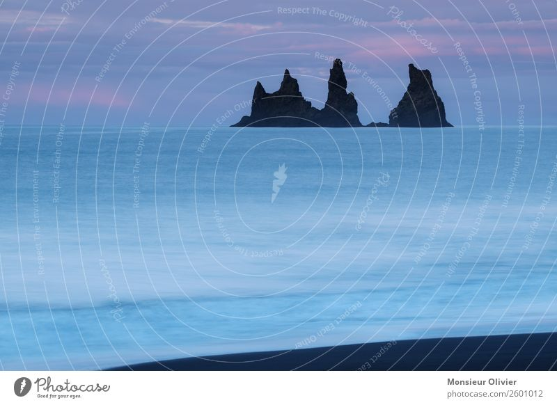 Rocks in the sea at Via, Iceland Ocean Landscape Nature Travel photography Adventure Vacation & Travel Deserted Blue Twilight