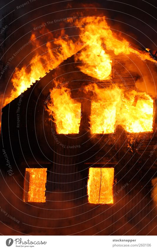 Fire House (Residential Structure) Yellow Wood Orange Hot Burn Flame Disaster Home Insurance Arson