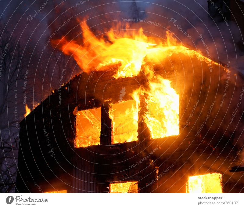 Fire House (Residential Structure) Yellow Wood Orange Fire Burn Flame Disaster Insurance Arson