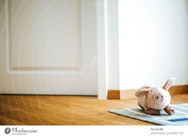 Cuddly toy lies on the floor and was forgotten in the children's room cuddly toy Swine Cute Ground left Lie Forget Infancy Children's room sad Carpet Toddler