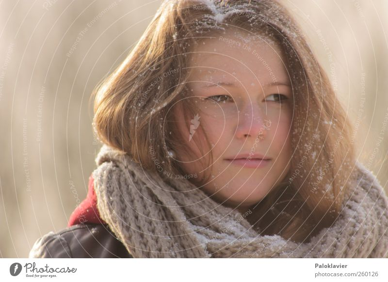 Ice cold snow Feminine Young woman Youth (Young adults) Sister 1 Human being Winter Snow Leather Scarf Brunette Long-haired To enjoy Looking Beautiful Cold
