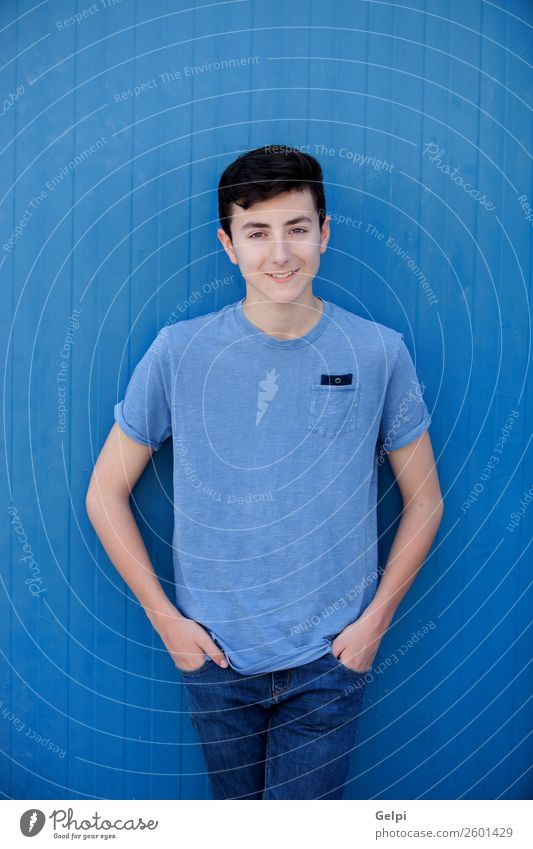 Portrait of a teenager Human being Youth (Young adults) Man Blue Beautiful White Face Lifestyle Adults Natural Happy Style Boy (child) Fashion Fresh Modern