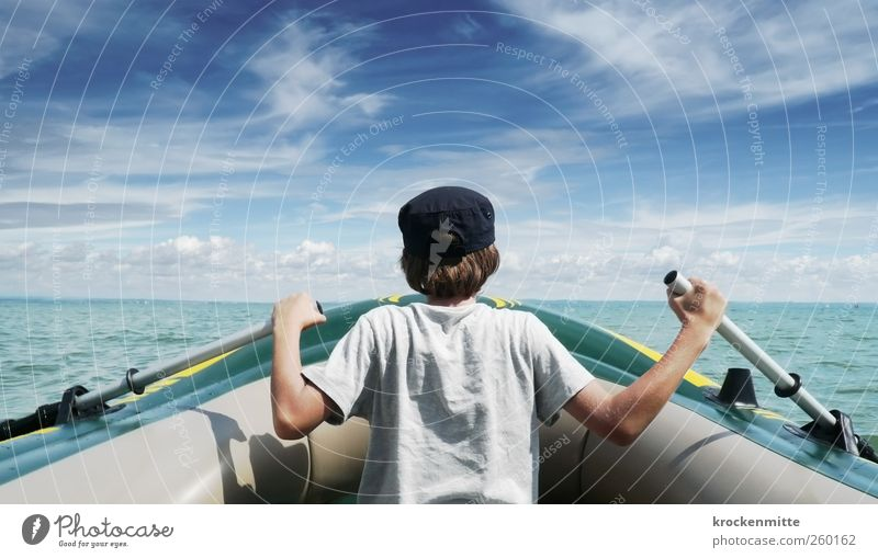 Human being Sky Youth (Young adults) Vacation & Travel Summer Joy Clouds Freedom Movement Lake Watercraft Infancy Trip Masculine Adventure