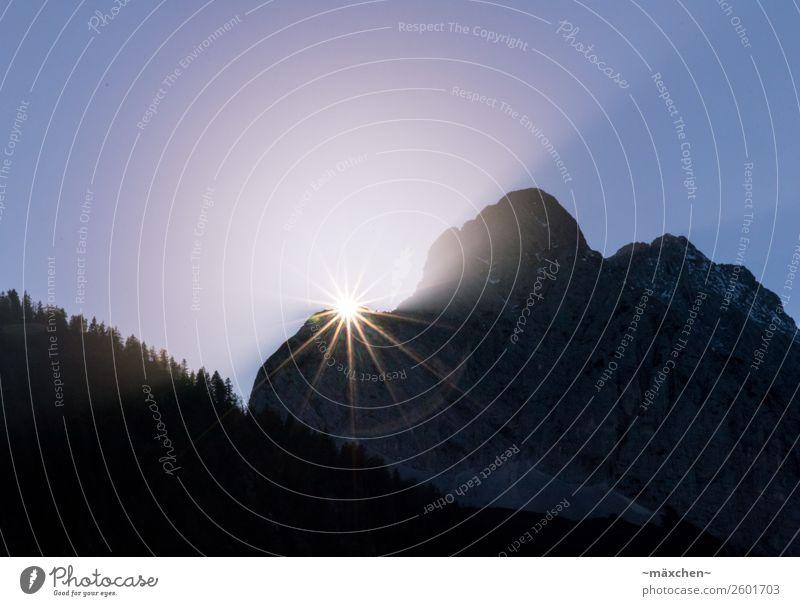 Blue Sun Forest Mountain Yellow Lighting Natural Rock Illuminate Stars Alps Violet Edge Beam of light Coniferous trees Vanished