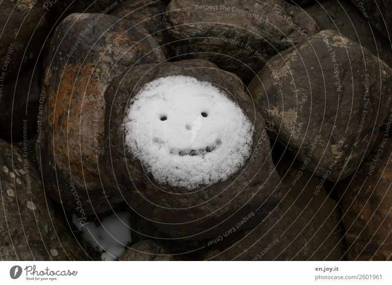 Joy Face Cold Funny Snow Happy Stone Rock Smiling Happiness Joie de vivre (Vitality) Sign Round Hope Positive Ease
