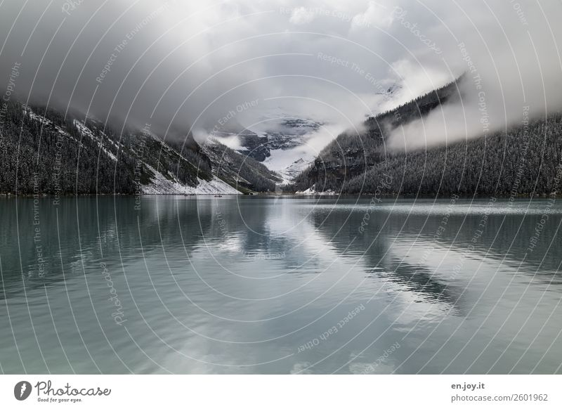 Cloudy Vacation & Travel Trip Far-off places Expedition Nature Landscape Elements Clouds Winter Bad weather Fog Snow Mountain Lake Lake Louise Dark Grief Cold