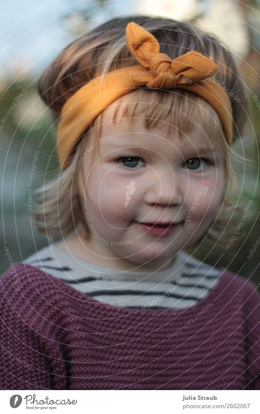 Girl headband cute Feminine Child Toddler Infancy 1 Human being 1 - 3 years Sweater Knitted sweater Headband Bow Blonde Curl Bangs Smiling Sit Brash