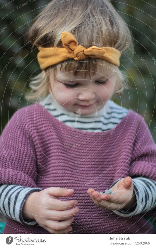 Girls play headband Feminine Toddler 1 Human being 1 - 3 years Beautiful weather Meadow Sweater Knitted sweater Striped sweater Headband Bow Brunette Blonde
