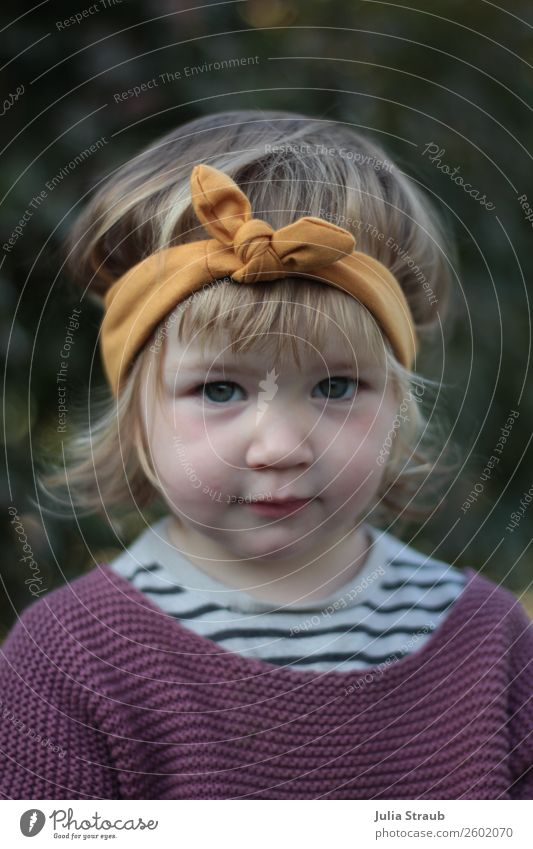Girl Sweet Headband Feminine Toddler 1 Human being 1 - 3 years T-shirt Knitted sweater Striped sweater Bow Brunette Blonde Short-haired Curl Bangs Looking Small