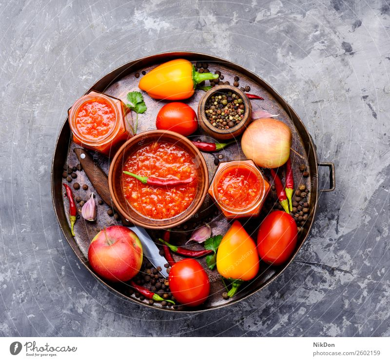 Spicy seasoning, sauce adjika spice spicy garlic food ingredient pepper hot chili tomato fresh vegetable organic vegetarian cuisine delicious homemade bowl