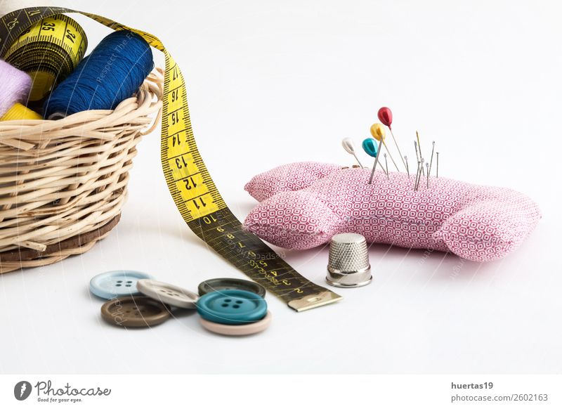 Sewing utensils Lifestyle Scissors Tape measure Fashion Dress Suit Cloth Accessory Work and employment sewing kit Buttons thread bobbins of thread yarn colors