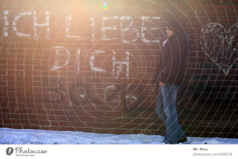 without words ! Woman Adults Snow Building Wall (barrier) Wall (building) Jeans Jacket Emotions Happy Sympathy Friendship Love Infatuation Graffiti Lean Dream