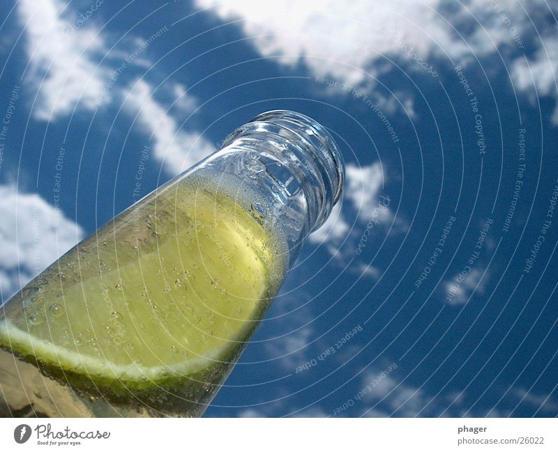 Sky Summer Clouds Glass Beverage Drinking Beer Bottle Alcoholic drinks Lemon Thirst Carbonic acid
