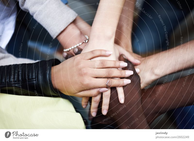 Close up top view of young people putting their hands together. Academic studies Human being Woman Adults Man Friendship Hand 5 Group 18 - 30 years
