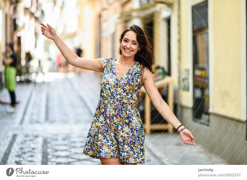 Happy young woman with blue eyes smiling outdoors Woman Human being Youth (Young adults) Young woman Summer Beautiful White Joy 18 - 30 years Street Lifestyle