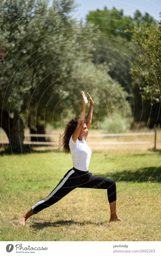 Young Arab woman doing yoga in nature. Woman Human being Nature Youth (Young adults) Young woman Summer Beautiful Green Relaxation Calm Black 18 - 30 years