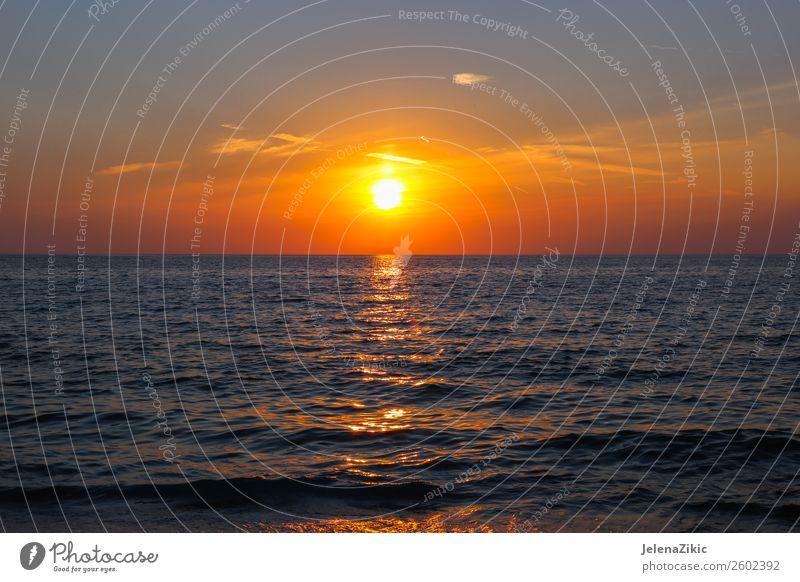 Beautiful sunset on the sea Sky Nature Vacation & Travel Summer Blue Landscape Red Sun Ocean Clouds Beach Coast Horizon Weather Vantage point
